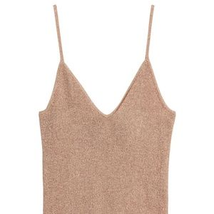 H&M Glittery Camisole Top Glitter Metallic Fitted V-Neck Rib Knit Size S